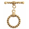 Toggle Rope Style Antique Gold 15mm